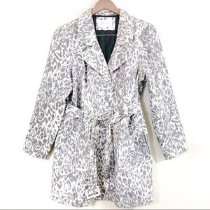 Relativity Snow Leopard Print Belted Trench Coat